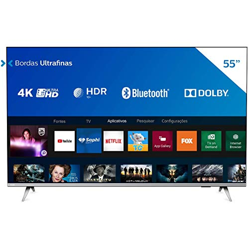 Smart TV 55' 4K Philips UHD 55PUG6654, HDR10+, Dolby Vision, Bluetooth, WiFi, 3 HDMI, 2 USB