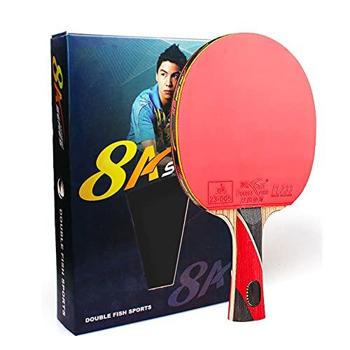 LINGOSHUN Raquetas de Ping Pong Profesional para Mayor Control de la Pelota y Mayor Giro,Raquetas de Tenis de Mesa de Carbono para Juegos de Torneo / 8 Stars/Long handle