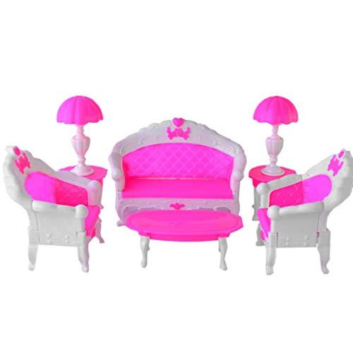 planuuik 6delige stoel bank tafel poppenhuis kunststof nituur sets miniatuur decoratieve onderdelen