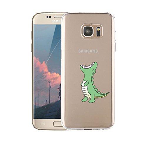 Funda Samsung Galaxy S7 Transparente,Dibujos Animados, Anti-Rasguño, Resistente Huellas Dactilares Blossom01 Ultra Fina de Gel de Silicona TPU Carcasa Samsung Galaxy S7 Caso (Cocodrilo Verde)