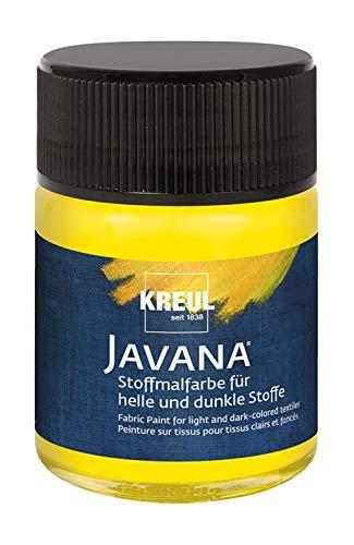Kreul 91962 - Javana Stoffmalfarbe für helle und dunkle Stoffe, brillante Farbe auf Wasserbasis mit pastosem Charakter, 50 ml Glas, gelb