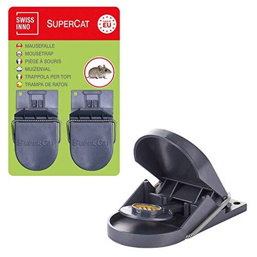 Trampa de Ratones SuperCat: eficiente - pre-cebadas con cebo natural no tóxico, listas para su uso inmediato. Set de 4