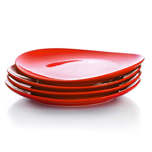 Sweese 150.104 Porcelain Dinner Plates - 11 Inch - Set of 4, Red
