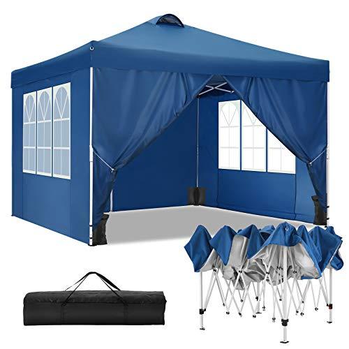 TOOLUCK Faltpavillon Wasserdicht Dachmaß 3 x 3 m Pavillon Partyzelt Gartenpavillon mit Entlüftung, 4 Seitenteilen und 4 Sandsack, Blau
