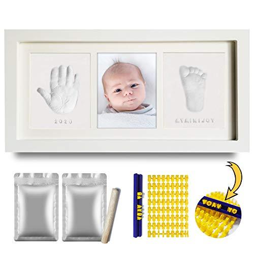 TBoonor Baby Abdruckset, Gipsabdruck Baby Hand und Fuß mit Gipspackungen Briefschablone kit und Bilderrahmen, sicher ungiftig Baby Fuß und Handabdruck Set für Neugeborene, Geschenk zur Babyparty