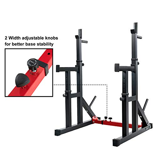 Vanswe Multi-Function Barbell Rack 550LBS Capacity Dip Stand Home Gym Fitness Adjustable Squat Rack Weight Lifting Bench Press Dipping Station