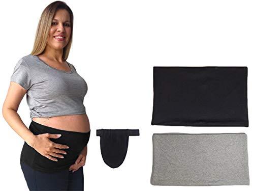Extensor prolongador de calça para gestante com 2 faixas (Preta/Cinza, G/GG veste 42 ao 46)