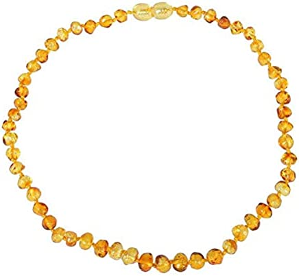 Baltic Amber Teething Necklace For Baby, Anti Inflammatory, Drooling & Teething Pain Reduce Properties, Yellow