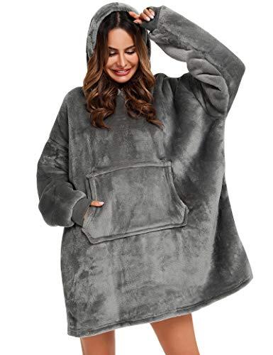 YEPLINS Pullover Sweatshirt Mit Kapuze Robe Decke Hoodie Decke Sweatshirt Flanell Hoodies (Grau), Einheitsgröße