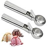 Cuchara para helado, 2 piezas de acero inoxidable con fácil disparo, cuchara para patatas, yogur, bola de melón, cuchara para galletas para frutas, helados o puré de alimentos.