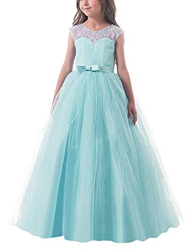 NNJXD Mädchen Kinder Spitze Tüll Hochzeit Kleid Prinzessin Kleider Größe (130) 6-7 Jahre Grün