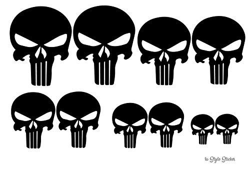 Schädel Aufkleber 10 Totenkopf Sticker Skull MTB Fully MX Motorrad Buggy Quad zubehör, Autoaufkleber