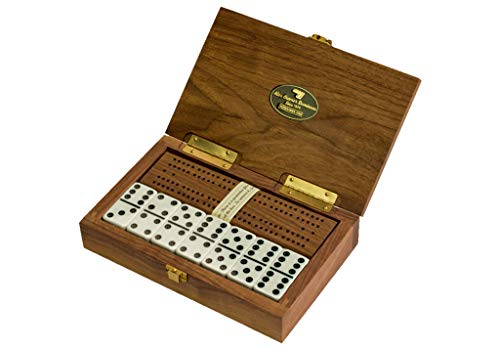 'Cabin Club' Classic Domino Set with Black Walnut Case - Premium...