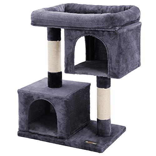 FEANDREA Kratzbaum mit Großer Plattform und 2 Plüschhöhlen Spielhaus, Kletterbaum für Katzen Rauchgrau PCT61G
