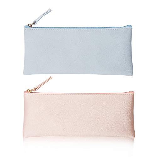 EONMIR PU Leather Pencil Cases Pouch Bag with Zipper,Small Simple Pencil Pouches, Makeup Pouch, Cosmetic Pouch (Blue+Pink)