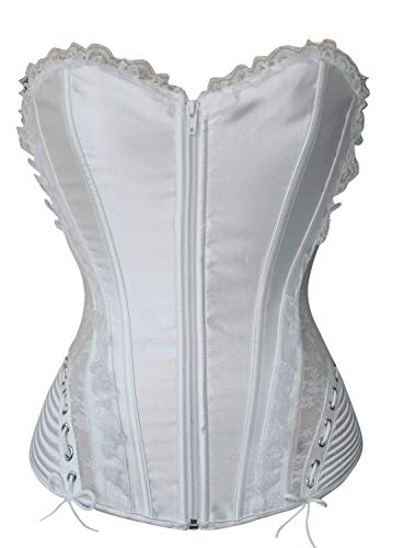 Mujer Moda Joven Body Shaper 2020 Body Moda Vintage Color Ropa de Fiesta Sólido Figura Shaping Flaco Corsage Clásico Vintage Corsage Conjuntos De Corsé (Color : Blanco, Size : L)