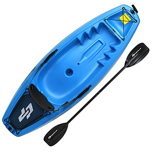 Goplus 6FT Youth Kayak, Kids Recreational Rowing Fishing Boat w/Paddle, Folding Backrest, Storage Hatche, 4-Level Footrest, Sit-On-Top Kayak Canoe for Children Over 5 (Blue)