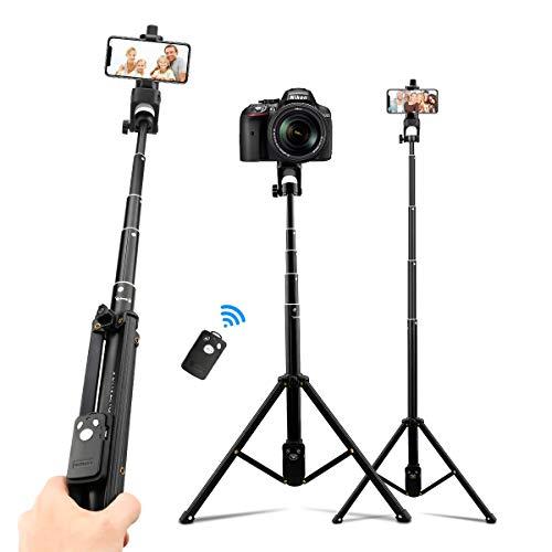 AFAITH 3 in1 Kamera Handy Stativ, Selfie Stick Ausziehbares Stativ Bluetooth Fernbedienung Selfie Stangen für iPhone 12 Mini 12 Pro 11 Pro Max XS 8 Plus Galaxy S20 und Andere Handy DLSR Kamera