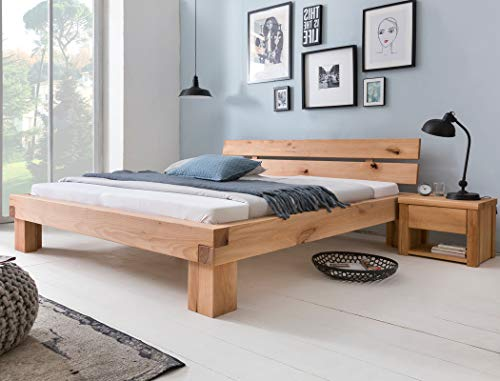 expendio Balkenbett Tamme + Nachttisch Wildbuche geölt Größe nach Wahl Massivholzbett Holzbett Doppelbett Singlebett Schlafzimmer, Liegefläche:160 x 200 cm, Set-Inhalt:Bett + 2X Nako