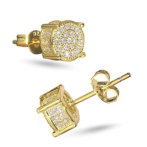 LEEQ Pendientes de botón de circonita Oro de 14 quilates/Pendientes de botón de cristal de hielo recubiertos de platino 5A CZ Pendientes de gemas Pendientes de botón de hip hop (Oro)