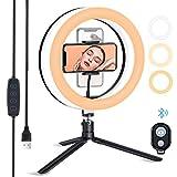 ESDDI Luce ad Anello LED, 10''Ring Light Treppiede, 3 Colori e 10 Luminosità con Supporto per Cellulare, per Tik Tok, Selfie, Video, Vlog, YouTube e Make up