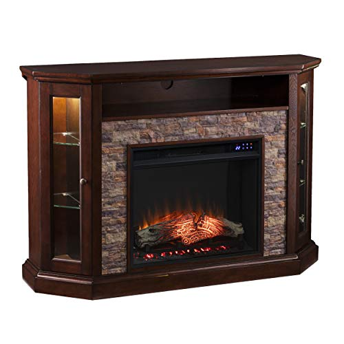 SEI Furniture Redden Corner Fireplace, New Espresso