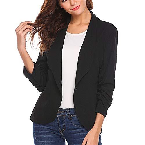 ESAILQ Frau OL Stil DREI Viertel Sleeve Blazer Eleganten Schlanken Anzug Mantel(Small,Schwarz)