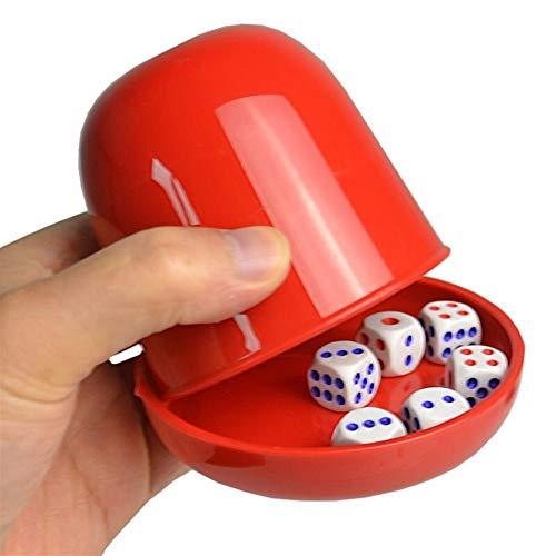 TX GIRL Kunststoff-Würfelbecher-Set Mit Tray/Deckel 6 Würfelt Schütteln Cup Trinken Brettspiel Poker Casino Gambling Dice Box (Color : Blue)
