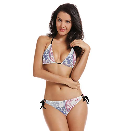 AIMILUX Bikini zum Schnüren,Nahtloses Muster Visum Stempel an,Frauen Badeanzug Low Rise Skinny(L)