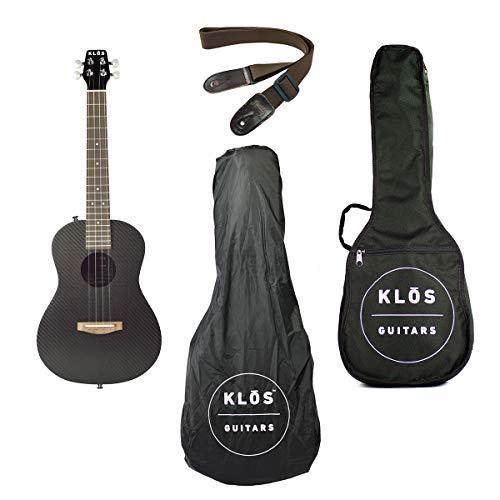 KLOS Guitars Carbon Fiber Acoustic Electric Ukulele Package (Ukulele, Gig Bag, Rain Cover, Strap, Strap Pins)