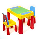 ihubdeal XL 3-in-1 Kids Activity Table Building Blocks and Chair Set Sand Table Craft Table Building Brick Table with Storage