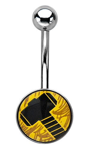 Marvel Thor Yellow Hammer 14G Stainless Steel Belly Button Ring