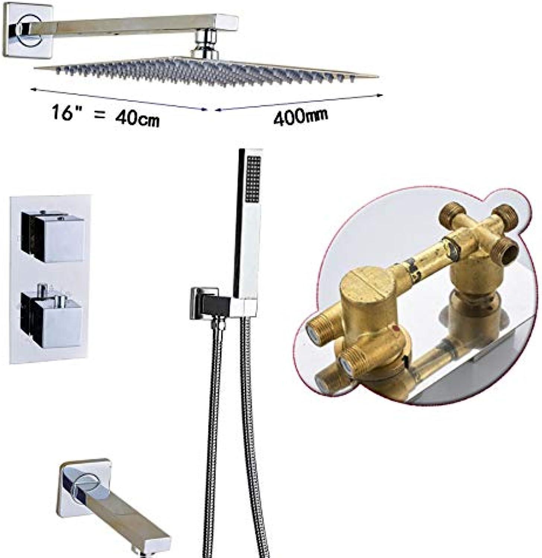 LWSFZAS Thermostatventil 16 Big Regendusche Mischer Wand Edelstahl Duschkopf Chrom Bad Dusche Wasserhahn System3-Wege 16 Zoll Kopf