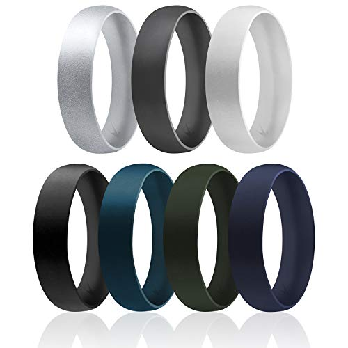 ROQ Silicone Wedding Ring for Men, Set of 7 Affordable Comfort Fit 6mm Manly Metallic Silicone Rubber Wedding Bands - Silver, Grey, Black, Green, Blue - Size 9