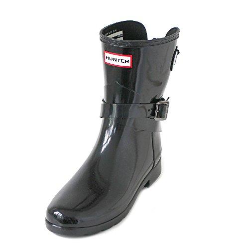 Hunter Women's Refined Back Adjustable Gloss Short Wellies - Black - UK 4 - Black