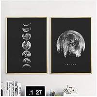 満月のポスター壁の装飾アートブラックホワイトムーンフェイズプリントソーラーシステムキャンバス絵画画像フレームなし
