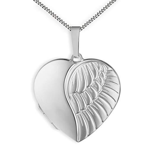 Medaillon Flügel Engel mattiert Herz 925 Sterling Silber zum öffnen für Bildereinlage 2 Fotos Amulett Verzierung + Kette mit Schmuck-Etui von Haus der Herzen®