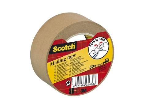 Scotch P5050 Packband Papier, 50 m x 50 mm, braun