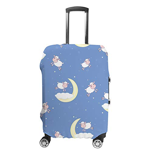 CHEHONG - Custodia protettiva per valigia, motivo: pecora, luna, blu, in fibra di poliestere, lavabile, elastica, antipolvere, adatta a 45-75 cm