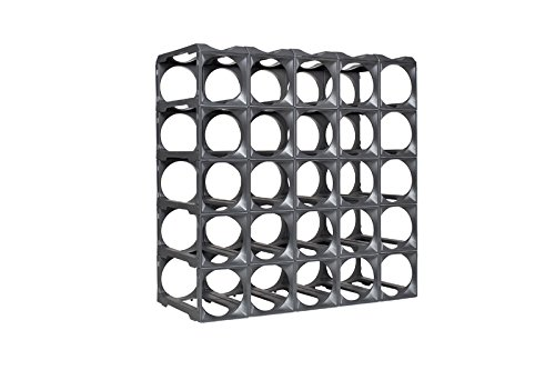 Stakrax - Stackable, Modular Wine Rack - 50 Bottle Set - Silver
