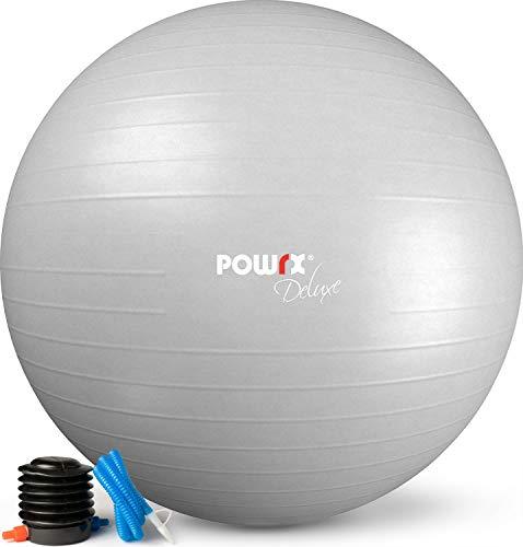 POWRX Pelota de Ejercicio 85 cm - Balón Ideal para Gimnasia, Yoga y Pilates - Anti-explosión con hinchador Incluido + PDF Workout (Gris Claro)