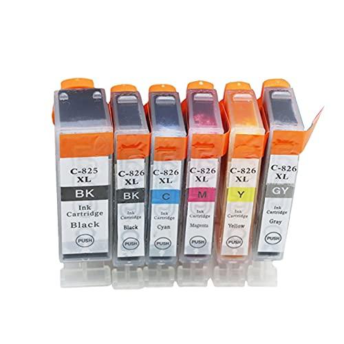 HLDC Reemplazo de Cartucho de Tinta Compatible para Canon PGI-525XL CLI-526XL, para PIXMA MG5250 5150 6150 8150 MG8250 IP4850 MX885 IX6550 Cartucho de Impresora de Chorro de Tinta