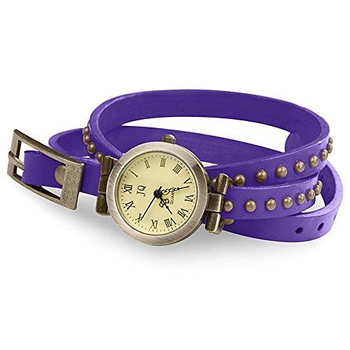 Taffstyle Damen-Armbanduhr Analog Quarz mit Leder-Armband Wickelarmband Uhr Vintage Lila Gold