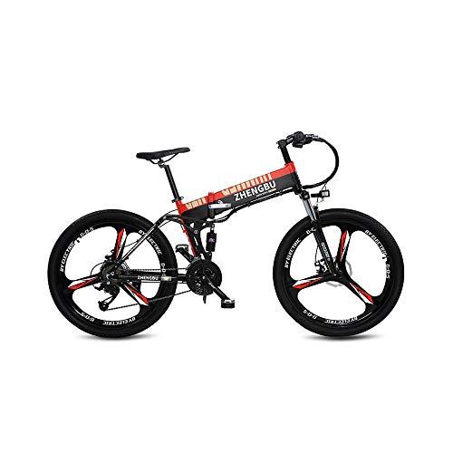 CYYC Velocidad Variable Plegable Impulso Bicicleta Eléctrica Bicicleta De Montaña 48V10Ah Sigilo Batería De Litio 400W Motor-Negro Rojo