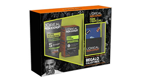L'Oréal Men Expert Pack con Crema hidratante Pure Power 50 ml y Limpiador Pure Charcoal 100 ml