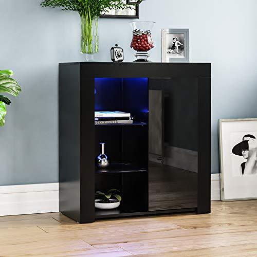 Vida Designs Azura 1 Door Modern LED Sideboard in Black, RGB Lights (Fade/Strobe Options Included), High Gloss