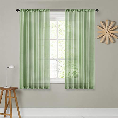 MRTREES Green Sheer Curtains Living Room 54 inch Length Short Voile Window Treatment Drape Light Filtering Curtain Sheers Bedroom Rod Pocket 2 Panels