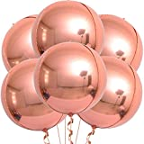 Rose Gold Big Balloons Decorations - Pack of 6 | Big 22 Inchs 360 Degree Round Balloons | Metallic Rose Gold Balloons | 4D Sphere Mylar Foil Mirror Finish | Chrome Rose Gold Birthday, Baby Shower