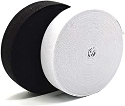 Elastieken om te naaien, 1 inch elastisch touw, elastisch koord, zware rek, hoge elasticiteit, breien (22 yards, zwart + wit)