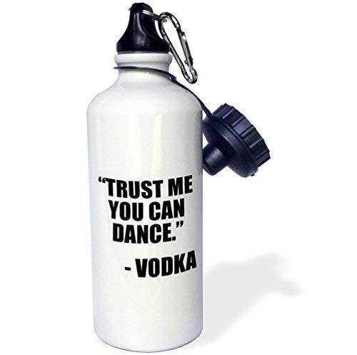 ANGELA G Geloof me dat je kunt dansen Wodka, Zwarte Sport Waterfles, 21 oz, Wit Roestvrij Staal Waterfles